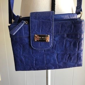 Nine West blue faux leather crossbody bag NWOT